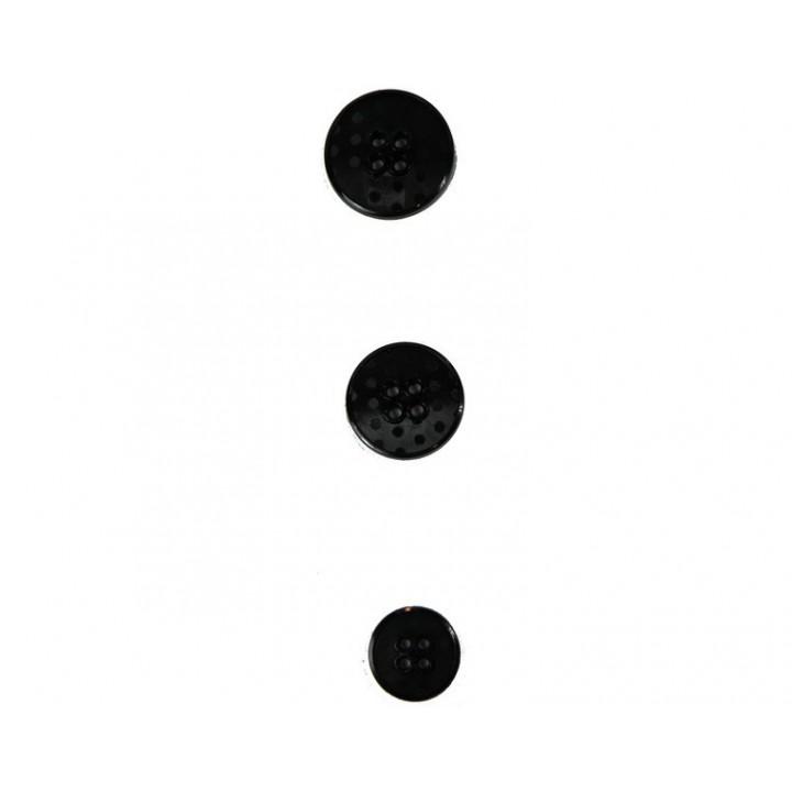 Bouton noir à pois 15, 20 et 22 mm