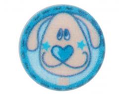 Bouton bleu petit chien