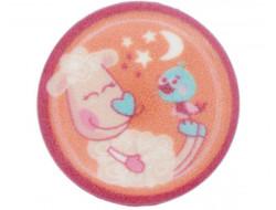Bouton rose mouton et son petit oiseau