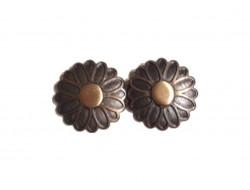 Attache métal bronze fleur