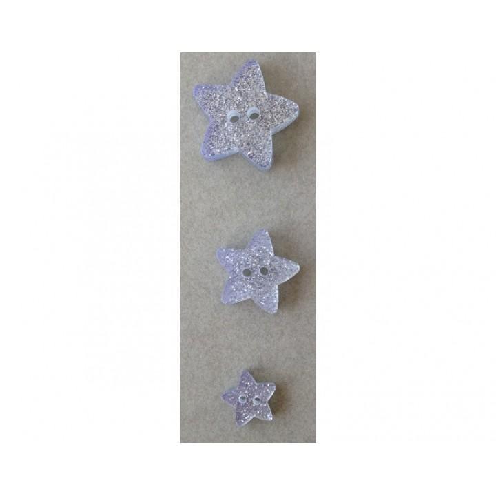 Bouton étoile pailleté 11, 18 et 23 mm
