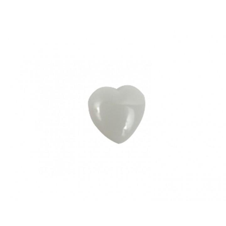 Bouton cœur blanc 10 mm