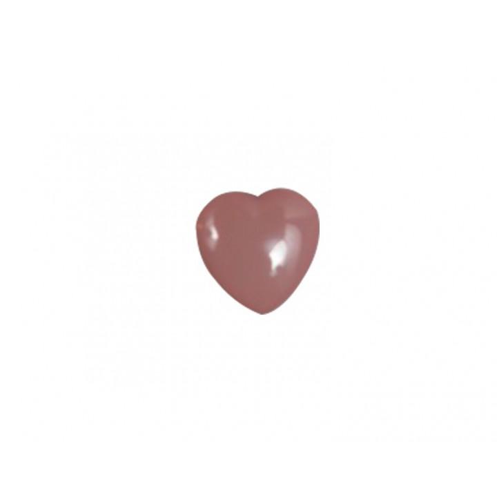 Bouton cœur rose 10 mm