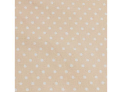Tissu Stof, Coton abricot petit pois blancs