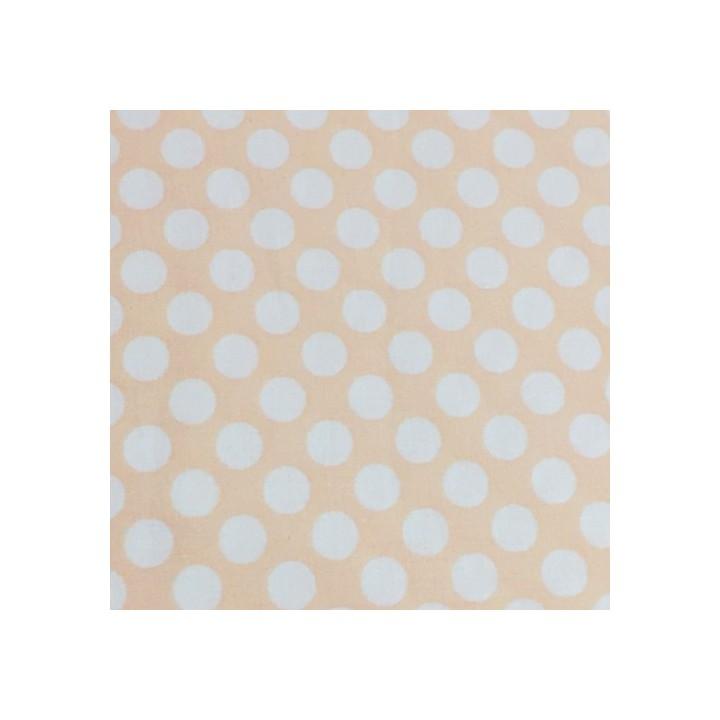 Tissu Stof, Coton abricot gros pois blancs