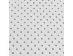 Tissu Stof, Coton blanc petit pois gris
