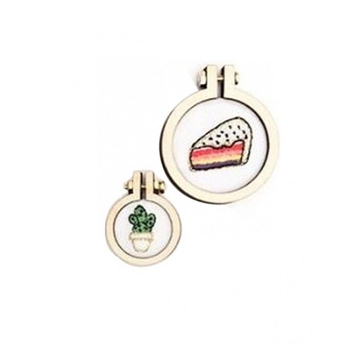 Kit 2 minis anneaux de broderie - Cactus & Cake - rond, Rico