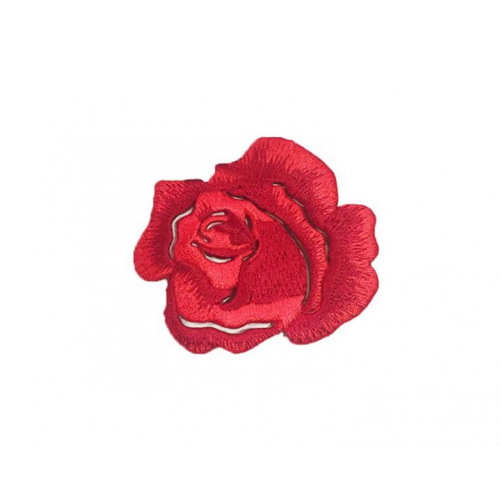 Écusson thermocollant petite rose rouge