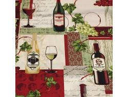 Tissu imprimé vin - Grand cru