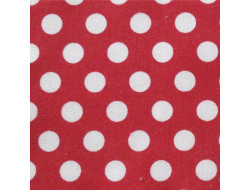 Tissu coton rouge gros pois blancs