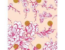 Toile imprégné Fleurs de cerisier et rond en or - Rico
