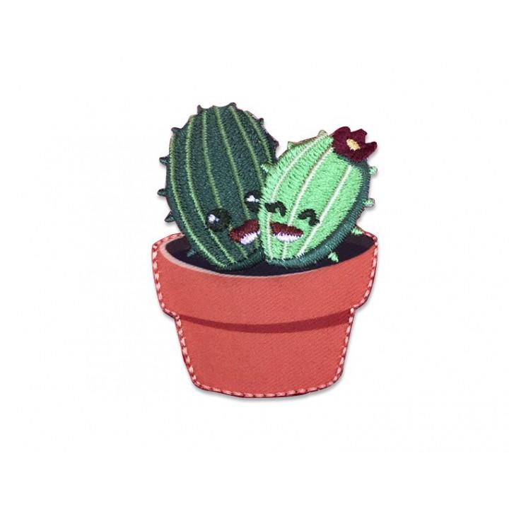 Écusson thermocollant Cactus dans son pot