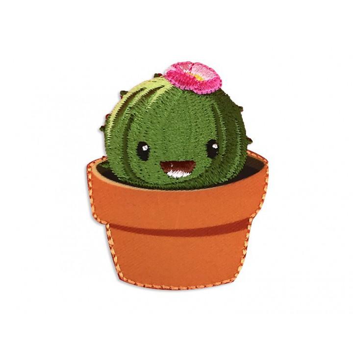 Écusson thermocollant Cactus rond dans son pot