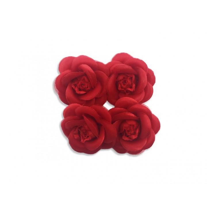 Lot de 4 Camélias rouge sur broche