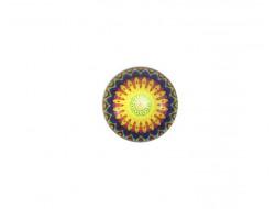 Bouton Mandala - Jaune 18 mm