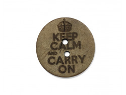 Bouton bois Keep calm and carry on