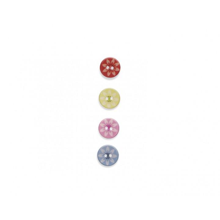 Bouton fantaisie - Fleurs pastels 15 mm