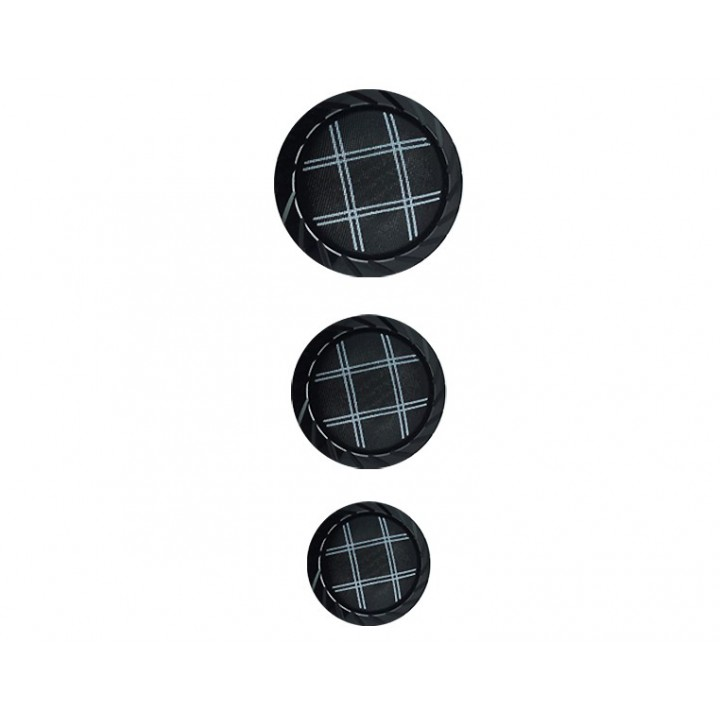 Bouton noir à carreaux