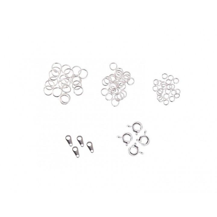 Assortiment de fermoirs pour bijoux - Argent - 58 pcs
