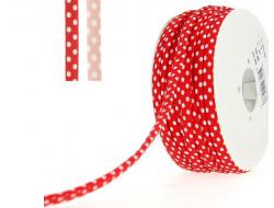 Cordon spaghetti  7 mm - Pois blanc sur fond rouge