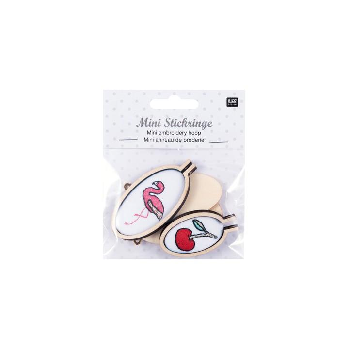 Kit 2 minis anneaux de broderie - Flamant rose & cerise