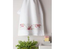kit de broderie fleurs, serviette éponge, pré-imprimé, point de croix