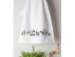 kit de broderie poissons, serviette éponge, pré-imprimé, broderie traditionnelle