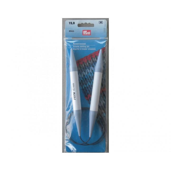 Aiguille à tricoter circulaire 80 cm - Plastique - N°15 mm - Prym