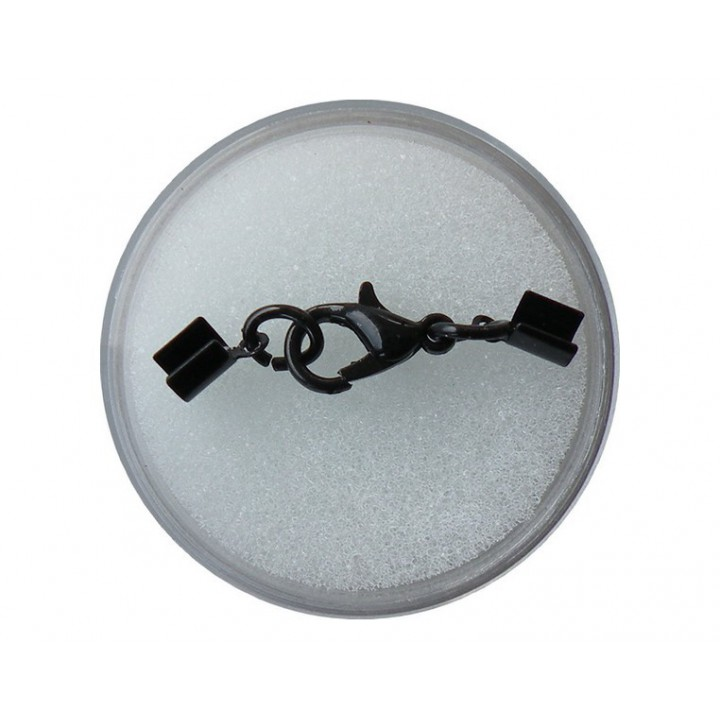 Fermoir à mousqueton noir 3 mm