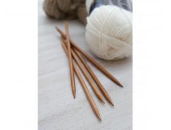 Aiguilles à tricoter en Bambou 20 cm - 2 pointes - Jeux de 5 aiguilles