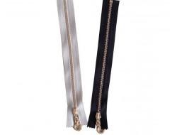Fermeture à glissière  noire ou grise, zip rond métal
