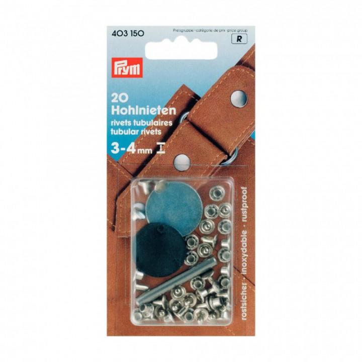Rivets tubulaires argent 3-4 mm Prym