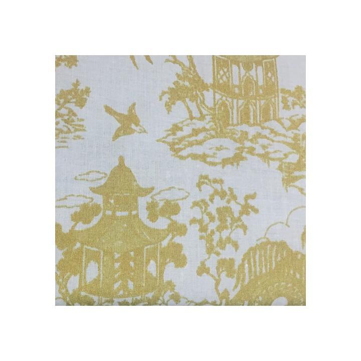 Tissu Stoff, Coton menthe - Maisons japonaises en or - Rico