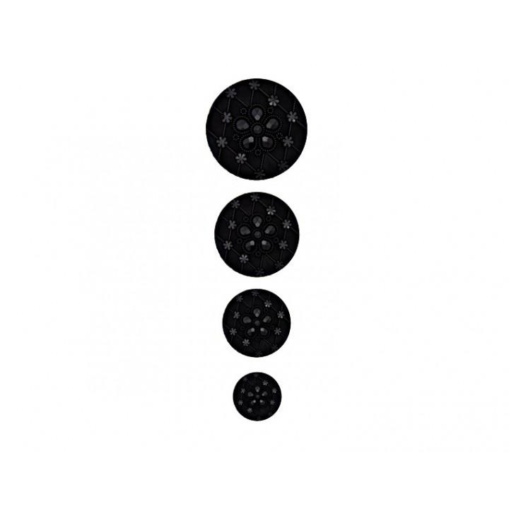 Bouton fantaisie - Noir élégant  15, 20, 23, 28 mm