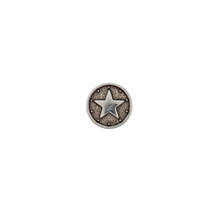 Bouton métal - étoile cuivre argent