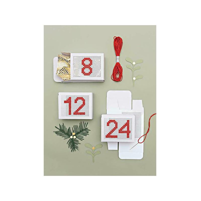 boites blanches broder calendrier de l 39 avant mercerie floriane. Black Bedroom Furniture Sets. Home Design Ideas