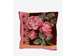 Kit Tapisserie coussin XXL - Bouquet de roses DMC
